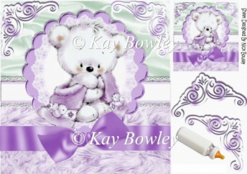 cute cuddle bear with lilac bow on lace & fur 8x8
