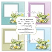 Spring Flowers Set Two - Four PNG Floral Quick Page Frames