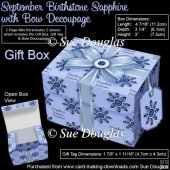 Gift Box September Birthstone Sapphire with Bow Decoupage