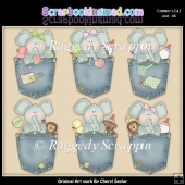 Baby Elephant Pockets ClipArt Graphic Collection