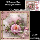Old Fashioned Rose Decoupage Card Front