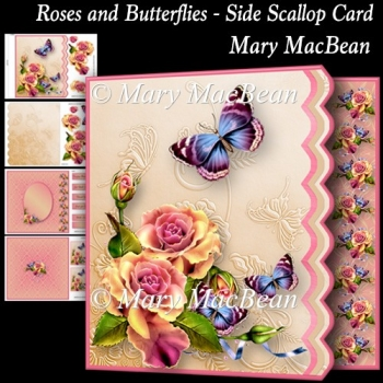 Roses and Butterflies - Side Scallop Card