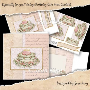 Especially for you! Vintage Birthday Cake Mini Card Kit
