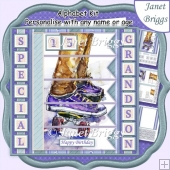 SKATEBOARD 7.5 Alphabet and Age Quick Card Kit Create Any Name