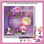 Cute Girl With Pup And Roses Card Front