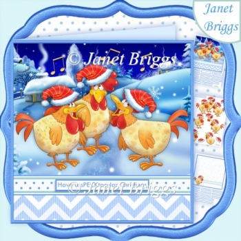 3 French Hens Have a sPECKtacular Christmas 7.8 Decoupage Kit