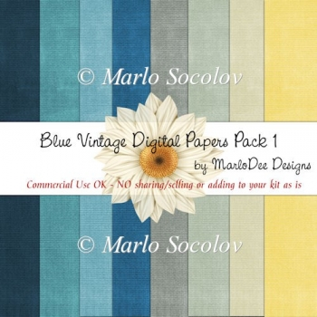 Blue Vintage :: A4 Digital Papers Pack by MarloDee Designs