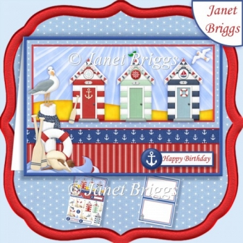 BEACH HUTS AT THE COAST A5 Card Topper & Insert Mini Kit