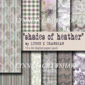"""SHADES OF HEATHER"" 10 x A4 digital paper pack - CU OK"
