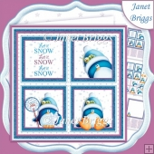 CHRISTMAS PENGUINS & SNOW SQUARES 7.5 Quick Layer Card & Insert