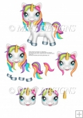 RAINBOW UNICORN STEP BY STEP decoupage sheet
