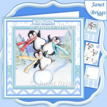 ARCTIC ACROBAT PENGUINS 7.5 Christmas Decoupage & Insert Kit