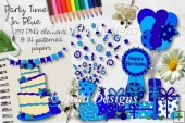 Party Time In Blue CU Clipart & Paper