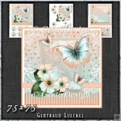 Vintage Pastel Shabby Butterfly Flower 1410