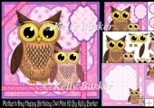 Mother's Day Happy Birthday Owl Pink Bow Mini Kit