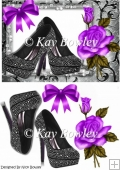 Black diamante shoes with purple rose A5