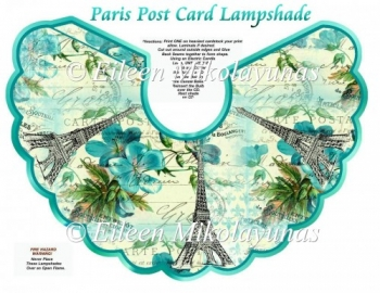 Paris Post Card Lampshade with Crafting Directions