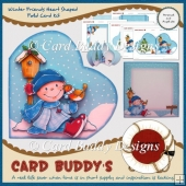 Winter Friends Heart Shaped Fold Card Kit