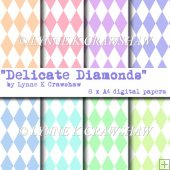 """DELICATE DIAMONDS"" - 8 x A4 digital paper pack CUOK"