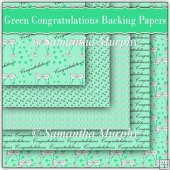 (Retiring in January) 5 Green Congratulations Backing Papers