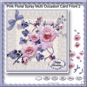 Pink Floral Spray Multi Occasion Card Front 2
