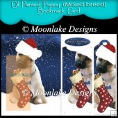 Oil painted Christmas Puppy Bookmark Quick Card