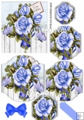 Blue roses with butterflies bracket pyramids