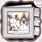 TOPSY TURVY SNOWMAN Christmas 7.5 Decoupage & Insert Mini Kit