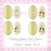 Wedding 1 Golden Oval Toppers