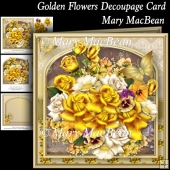 Golden Flowers Decoupage Card