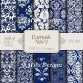 Damask in Navy Paper Pack CU4CU