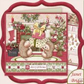 Hedgehogs Christmas Presents 8x8 Decoupage & Insert Kit