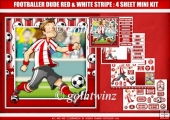 Footballer Dude Red and White Stripe 4 Sheet Mini Kit