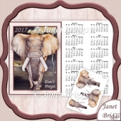 An Elephant Never Forgets 2017 A4 UK Calendar with Decoupage Kit