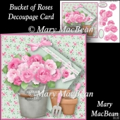 Bucket of Roses Decoupage Card Front