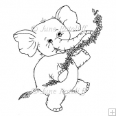 Elephant with Flowers Digital Stamp