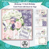 Birdsong Layered Floral 7.5 Birthday Card Front & Insert