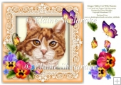 Ginger Tabby Cat Pansies Butterfly 8 x 8 Card Topper & Decoupage
