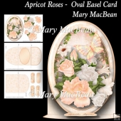 Apricot Roses - Oval Easel Card