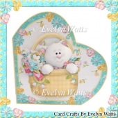 A Basket Of Cuddles Heart Shaped Card