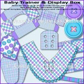 Baby Trainer & Display Box-Blue & Mauve Buttons