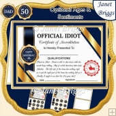 OFFICIAL IDIOT Humorous A5 Certificate Ages & Insert Card Kit