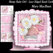 Sleepy Baby Girl - Lace Edged Easel Card
