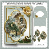 Blue Vintage Santa Diamond Fold Card Kit