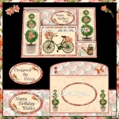 Floral Bicycle Staggered Stepper Card