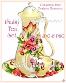 Pansy Yellow Tea Set Clip Art BOTH in JPG & PNG Format