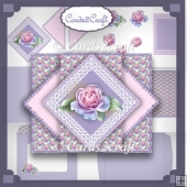 Frosted rose pop up triangle card set