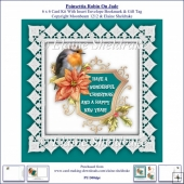 Poinsettia Christmas Robin On Jade 6 x 6 Card Kit + Insert etc.