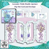 Lavender Fields Double Aperture Pop Out Card and Envelope