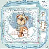 SNOWMAN & TEDDY BEAR 7.5 Decoupage & Insert Mini Kit